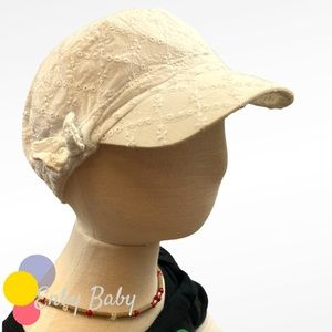 🍒$5 Add-On! White cotton sun cap with embroidery